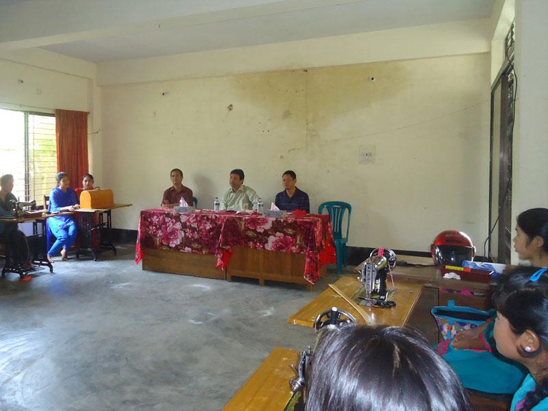 Bandarban Sadar UNO visiting Sewing Training